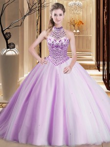 Fashionable Lilac Quinceanera Gown Military Ball and Sweet 16 and Quinceanera and For with Beading Halter Top Sleeveless Brush Train Lace Up