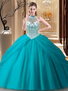 Halter Top Pick Ups Ball Gowns Sleeveless Teal Sweet 16 Quinceanera Dress Brush Train Lace Up