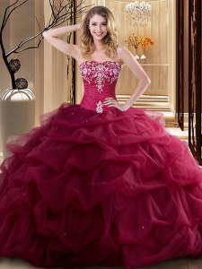 Dramatic Sweetheart Sleeveless Lace Up Sweet 16 Dresses Wine Red Tulle