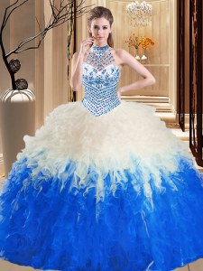 Halter Top Blue And White Lace Up 15th Birthday Dress Beading and Ruffles Sleeveless Floor Length