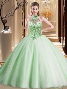 Halter Top Apple Green Tulle Lace Up Vestidos de Quinceanera Sleeveless With Brush Train Beading