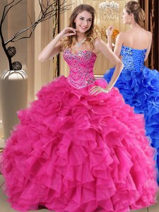 Sweetheart Sleeveless Vestidos de Quinceanera Floor Length Beading and Ruffles Hot Pink Organza