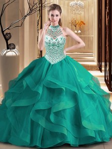Halter Top With Train Lace Up Sweet 16 Quinceanera Dress Dark Green for Military Ball and Sweet 16 and Quinceanera with Beading and Ruffles Brush Train