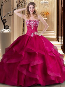 Most Popular Coral Red Ball Gowns Sweetheart Sleeveless Tulle Floor Length Lace Up Embroidery and Ruffles Sweet 16 Dresses