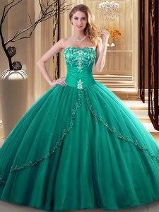 Shining Dark Green Ball Gowns Embroidery Quinceanera Dresses Lace Up Tulle Sleeveless Floor Length