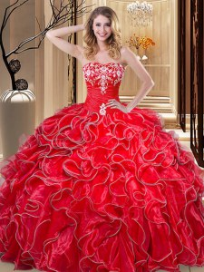 Fashionable Ball Gowns 15 Quinceanera Dress Coral Red Sweetheart Organza Sleeveless Floor Length Lace Up