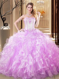 Ball Gowns Sweet 16 Dresses Lilac Strapless Organza Sleeveless Floor Length Lace Up