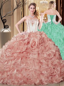 Low Price Champagne Lace Up Strapless Embroidery and Ruffles Sweet 16 Dress Organza Sleeveless
