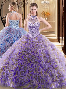 Chic Halter Top With Train Lace Up Quinceanera Gowns Multi-color for Military Ball and Sweet 16 and Quinceanera with Beading Brush Train