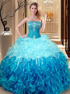 Organza Sleeveless Floor Length Quince Ball Gowns and Embroidery and Ruffles