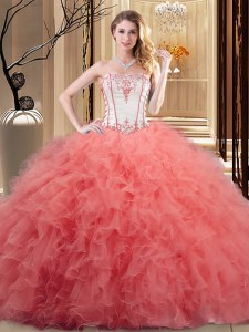 High End Watermelon Red and Orange Quinceanera Gowns Prom and Military Ball and Sweet 16 and Quinceanera and For with Embroidery and Ruffled Layers Strapless Sleeveless Lace Up