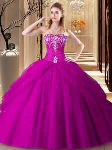 Super Hot Pink Ball Gowns Sweetheart Sleeveless Tulle Floor Length Lace Up Embroidery Sweet 16 Dress