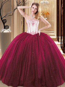 Wine Red Sleeveless Embroidery Floor Length Quince Ball Gowns