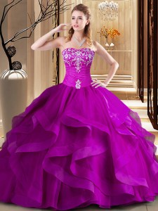 Most Popular Fuchsia Sleeveless Floor Length Embroidery and Ruffles Lace Up Quince Ball Gowns