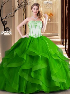 Strapless Sleeveless Tulle Quinceanera Dresses Embroidery Lace Up