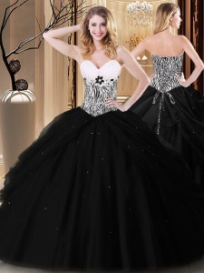 Admirable Pick Ups and Pattern Sweet 16 Dress Black Lace Up Sleeveless Floor Length