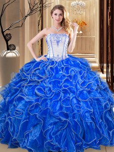Trendy Royal Blue Organza Lace Up Ball Gown Prom Dress Sleeveless Floor Length Embroidery and Ruffles