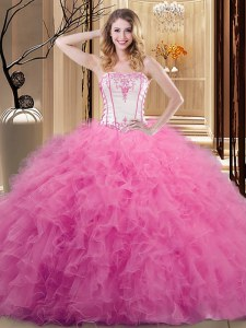 Suitable Sleeveless Lace Up Floor Length Embroidery Sweet 16 Dresses