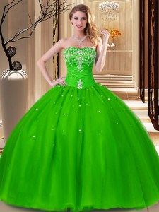 Modest Beading and Embroidery 15 Quinceanera Dress Lace Up Sleeveless Floor Length