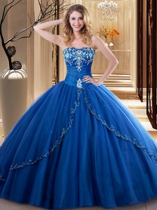 Royal Blue Sweetheart Neckline Embroidery Quinceanera Dress Sleeveless Lace Up