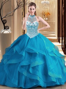 Luxury Halter Top Tulle Sleeveless With Train Sweet 16 Quinceanera Dress Brush Train and Beading and Ruffles