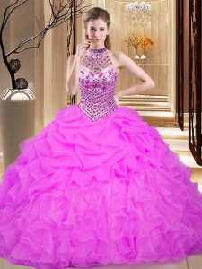Lilac Quinceanera Dress Military Ball and Sweet 16 and Quinceanera and For with Beading and Ruffles and Pick Ups Halter Top Sleeveless Lace Up