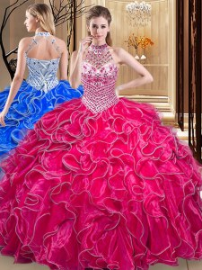 Hot Pink Halter Top Lace Up Beading and Ruffles Quinceanera Gowns Sleeveless