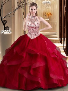 Halter Top Wine Red Lace Up Quinceanera Gowns Beading and Ruffles Sleeveless With Brush Train
