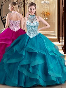 Spectacular With Train Teal Ball Gown Prom Dress Halter Top Sleeveless Brush Train Lace Up
