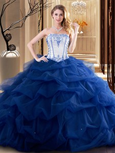 Fine Royal Blue Lace Up Strapless Embroidery and Ruffled Layers Quinceanera Dress Tulle Sleeveless