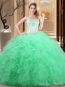 Charming Sleeveless Embroidery Floor Length 15 Quinceanera Dress