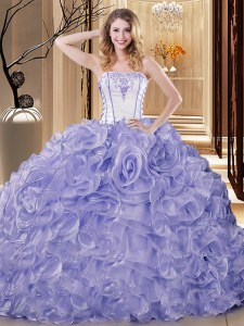 Lavender Strapless Neckline Embroidery and Ruffles Quinceanera Gowns Sleeveless Lace Up