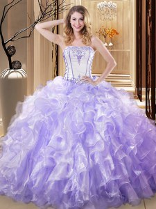 Embroidery and Ruffles 15 Quinceanera Dress Lavender Lace Up Sleeveless Floor Length