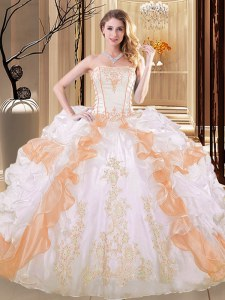 Custom Designed Floor Length White and Yellow Sweet 16 Dress Organza Sleeveless Embroidery and Ruffled Layers