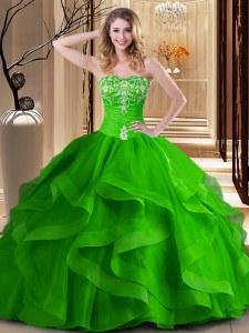 Glorious Tulle Lace Up Sweetheart Sleeveless Floor Length Quinceanera Gowns Embroidery and Ruffles