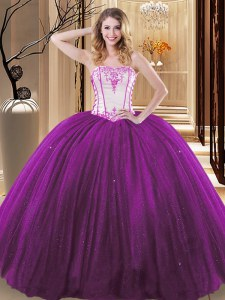 Sleeveless Tulle and Sequined Floor Length Lace Up Sweet 16 Dresses in White And Purple with Embroidery