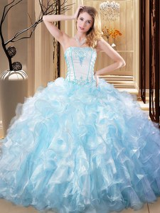 Delicate Light Blue Organza Lace Up Strapless Sleeveless Floor Length 15 Quinceanera Dress Embroidery and Ruffles