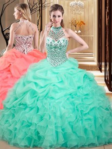 Glittering Halter Top Floor Length Lace Up 15 Quinceanera Dress Apple Green for Military Ball and Sweet 16 and Quinceanera with Beading and Ruffles and Pick Ups