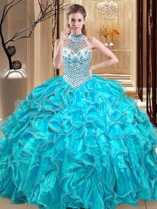 Flirting Halter Top Organza Sleeveless Floor Length Sweet 16 Quinceanera Dress and Beading and Ruffles