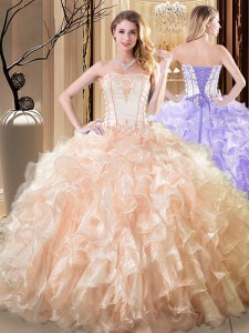 Custom Designed Sleeveless Embroidery and Ruffles Lace Up Quinceanera Gowns