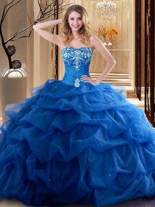 Royal Blue Sleeveless Embroidery and Ruffles Floor Length Sweet 16 Dresses