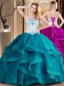 Sophisticated Teal Lace Up Strapless Embroidery Quinceanera Dresses Tulle Sleeveless