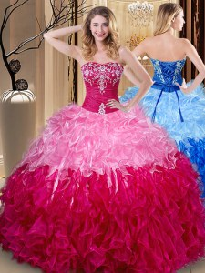 Inexpensive Multi-color Quinceanera Dresses Party and Military Ball and Sweet 16 and Quinceanera and For with Embroidery and Ruffles Sweetheart Sleeveless Lace Up
