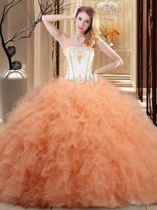 Ruffled Floor Length Orange Vestidos de Quinceanera Strapless Sleeveless Lace Up