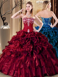 Wine Red Lace Up Quince Ball Gowns Embroidery and Ruffles Sleeveless Floor Length