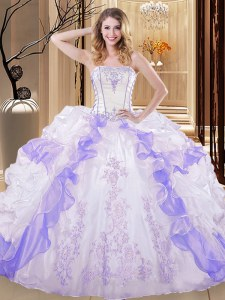 Floor Length White And Purple Sweet 16 Dress Organza Sleeveless Embroidery and Ruffled Layers