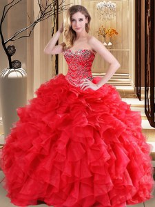 Delicate Red Sleeveless Floor Length Beading and Ruffles Lace Up Sweet 16 Dresses