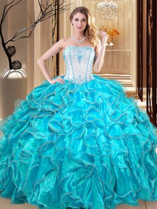 Super Teal Lace Up Strapless Embroidery and Ruffles Quince Ball Gowns Organza Sleeveless