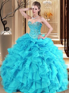 Aqua Blue and Turquoise Quinceanera Gowns Military Ball and Sweet 16 and Quinceanera and For with Beading and Ruffles Sweetheart Sleeveless Lace Up