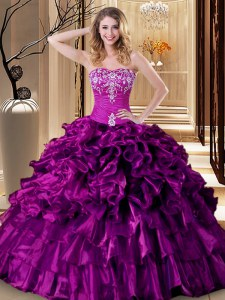 Floor Length Purple Sweet 16 Dresses Sweetheart Sleeveless Lace Up